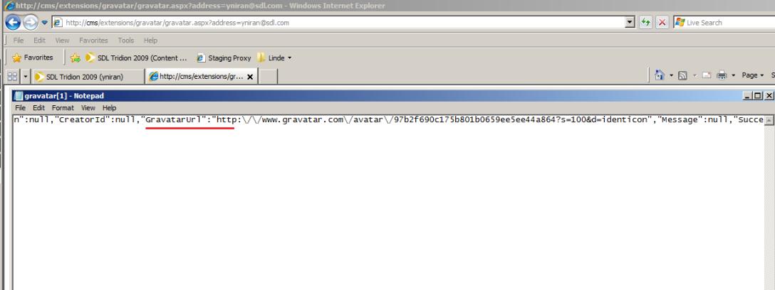 Gravatar Tridion GUI Proxy response