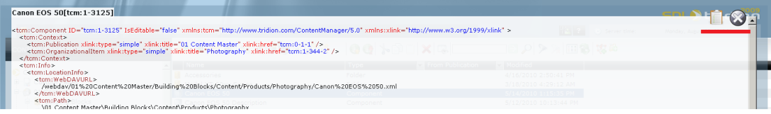 Xml item display - buttons