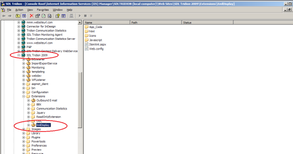 xml item display - extension folder in IIS