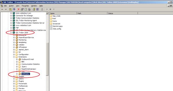 xml item display - extension folder in IIS