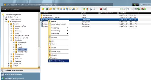 Xml item display - new contenxt menu item