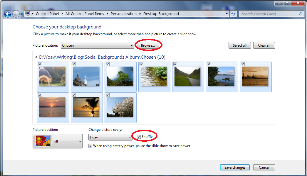 Desktop Background selection window