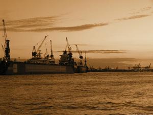 Ship Yard In Evening Yellow - Germany