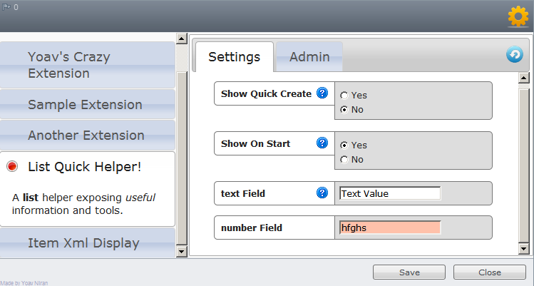 Extensions Manager - Field Type Validation