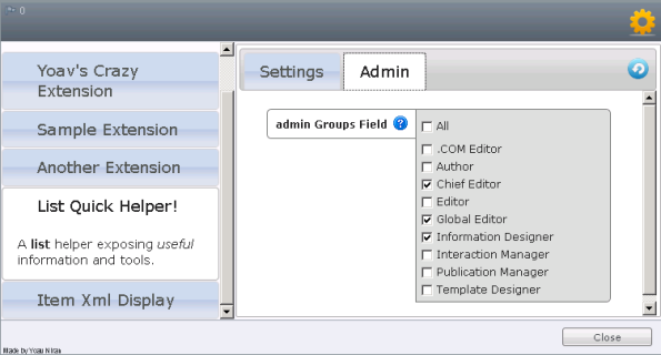 Extensions Manager - Groups Field