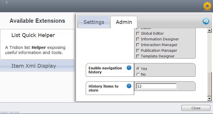 Navigation History - extensions manager