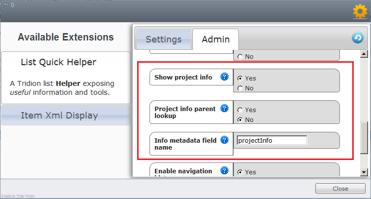 Project Info Configuration